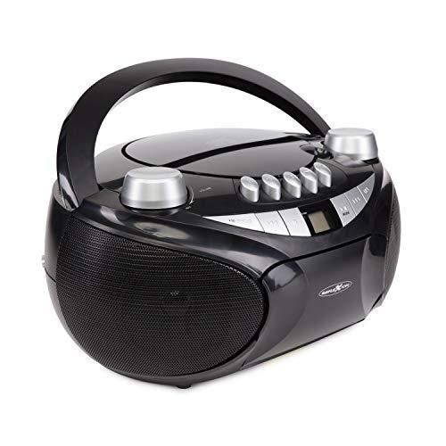 Reflexion CD-Player mit Kassette, USB, SD, UKW-Radio, AUX-Eingang, Netz- und Batteriebetrieb, schwarz Standard - Cd-kassette-radio