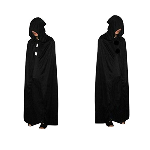 Tinksky Halloween Umhang Hooded Robe Cloak Sensenmann Death Devil Schwarz Death Kostüm Cosplay 1.7M