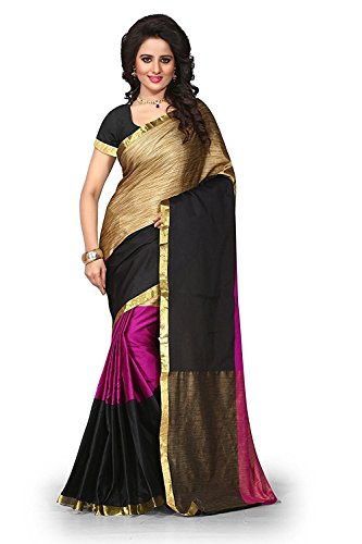 Sarees (for Women Party Wear offer Sarees New Collection Today Low Price Sarees in Purple Cotton Silk Material Latest Saree With Blouse Free Size Beautiful Sarees With Blouse)