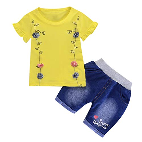 Infant Baby Girl Solid Flower T Shirt Print Letter Denim Shorts 2PC Sets Outfits