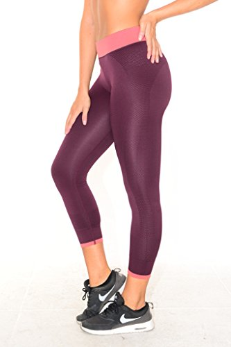 B.BANG Women's Capri Tights Running Yoga Pants Workout Pants Wind Red