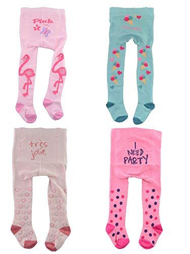C&C KIDS Baby Strumpfhosen,4Pac,86/92,Mint/Pink/Rosé