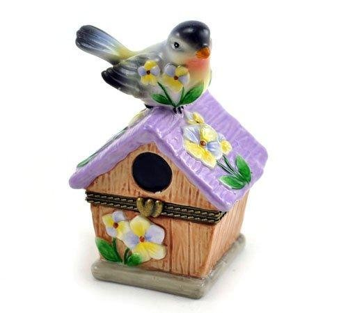 Bird Perched on Purple Floral Birdhouse Porcelain Hinged Trinket Box by Art Gifts (Porcelain Floral Box)