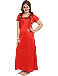 7d1e0905a6 TUCUTE Women Satin Night Gown with Lace (Red) (Free Size) Style-