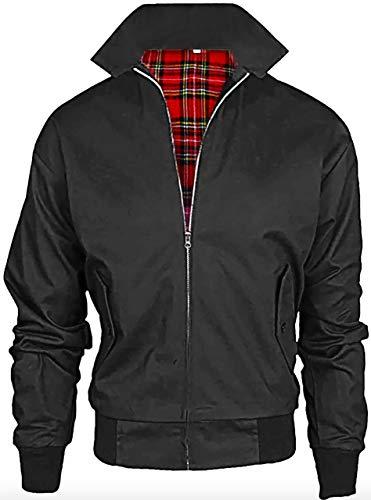 Vintage Harrington Von Wholesale Workwear - Erwachsene Harrington Jacke Britisch Mantel Klassisch 1970er Jahre Retro Scooter Kariertes Futter - Schwarz, L -