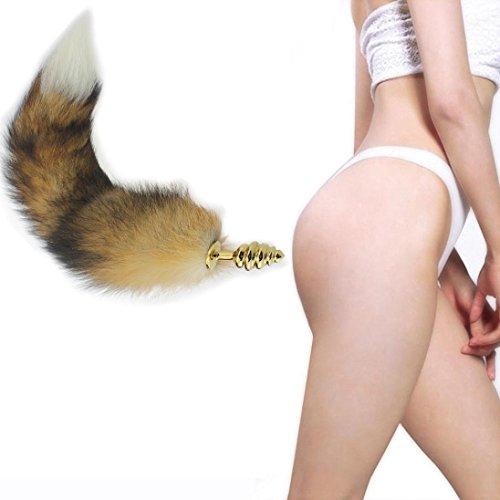 Rawdah Plug Anal per Donna Uomo,Inossidabile Acciaio Plug anale Volpe Coda Culo Plug Anal Giocattoli sessuali Anale Tappo di Coda B