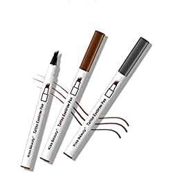 Krstay Lapiz de cejas,Delineadores de ojos,Tattoo Eyebrow Pen con cuatro puntas de tenedor Impermeable y duradero Lápiz de cejas Ink Sketch Eyebrow Pen para Maquillaje Natural de Ojos (Gris)