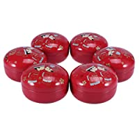 UPKOCH Wedding Tin Candy Box Tinplate Empty Tins Retro Sweet Storage Containers with Lids for Christmas Xmas Supplies 6pcs (Type 1)