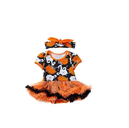 Pageantry Halloween Spielanzug Mädchen Halloween Kürbis Kleidungssets Cosplay Outfits Kostüme Tutu Kleid Spitze Stirnband Set Sommer Kurzarm Drucken Spielanzug Overall Kleidung