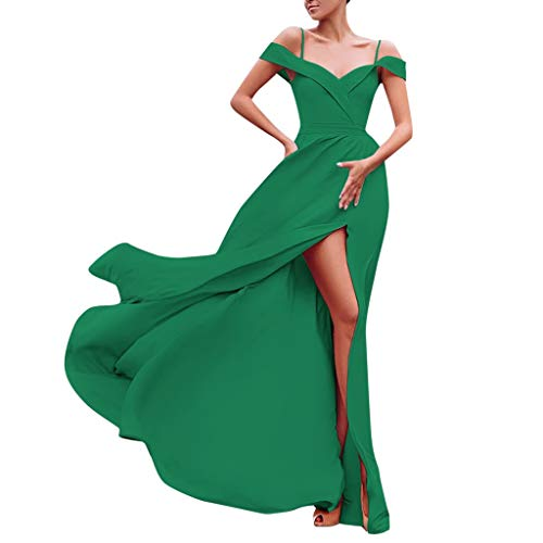 ZHANSANFM Abendkleid Damen Abendkleider Unifarben Ärmelloskleid Frauen Sexy Seitenschlitz Taillen-Kleid Retro Prinzessin Partykleid Ballkleid Elegant Übergröße Brautjungferkleid (XL, Grün)
