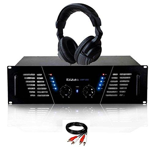 Amplificatore PA DJ 2x 600W Max Ibiza Sound amp-800+ Auricolari e Cavo RCA Di Collegamento