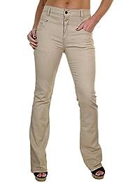 ICE (1500-2) Jeans en Denim ExtensibleÉvasé avec Brillant Beige