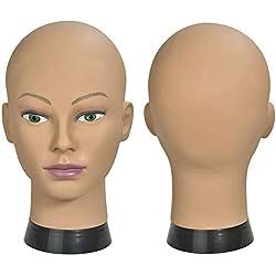 ErSiMan Tête de mannequin pour femme pour perruques, chapeaux, lunettes, coiffure, tête de poupée avec pince (12-A)