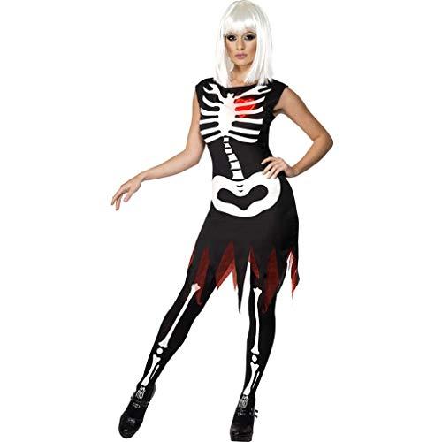 Beonzale Halloween Kostüm Damen Bone Print Mode Sling Slim Halloween Kostüme Kleid Tops Steampunk Gothic Kostüm