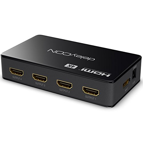 deleyCON 4k UHD HDMI Splitter / Verteiler 4 Port - 2160p 4k Ultra HD / FULL HD 3D / 4x HDMI OUT - HDCP DTS Deep Color – HDMI Verteiler 1x4 [Schwarz]