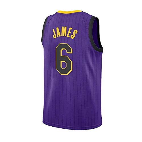 Los Angeles Lakers Lebron Raymone James # 6 Trikot - Klassisches ärmelloses Set, Basketball für Männer und Unisex-Korbanzug T-Shirt Genähte Buchstaben Lila CYGJ-XL
