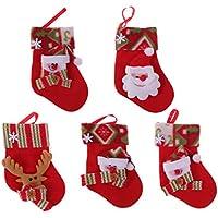 Vosarea 12pcs Mini Calcetines de Navidad árbol de Navidad Chimenea Decoraciones Colgantes Caramelos Regalos Bolsas Fiesta de Navidad favorece Suministros (Color y patrón al Azar)