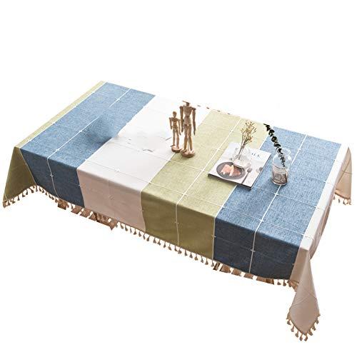 BATSDCB Retro Lattice Stripe Quaste Tischdecken, Baumwolle Leinen Staubdicht Tisch-Abdeckung,...