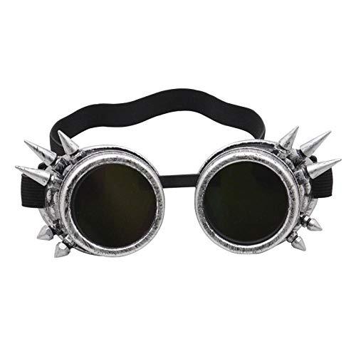 TIANOKLN Steampunk Retro-Brille, Outdoor-Sport-Gothic-Brille, dekorative Windschutzbrille, Sonnenbrille, antikes Silber