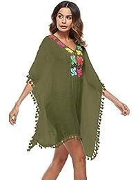 Siswong Bikini Cover-up Vestir de Cuadrícula Traje de Baño Vestido elegante Boho Borlas Mujer Tallas Grandes Verano Playa 2018 (Verde Militar)