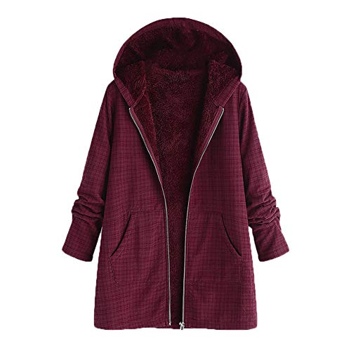 Warm Winterjacke, Printed Pockets Dicker Hasp Kapuzenmantel Damen Jacke Parka Outwear Strickjacke Mantel Plüschjacke Steppjacke Outwear Cardigan Parka Trench Coat Strickjacken ()