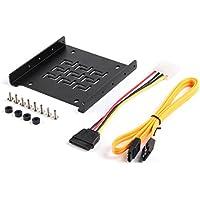 Salcar Einbaurahmen für 2,5 Festplatten/SSD auf 3,5 Adapter Wechselrahmen, Montagerahmen Halterung Schienen inkl. Schrauben SATA Kabel