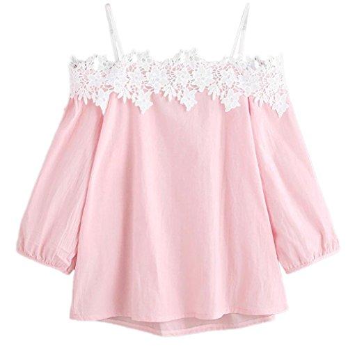 Damen Tops,Binggong Damen Spitze Transluzent Lose Kurzarm Oberteile Sexy Frauen Spitzenbluse Schulterfrei T-Shirt Sommer Bluse (sexy Rosa 2, l)