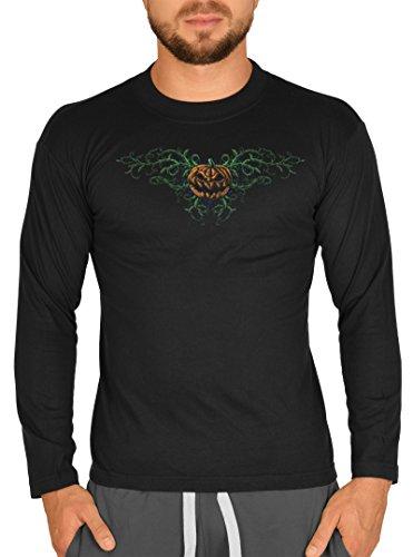 (Langarm Herren T-Shirt Halloween Horror Horror Kürbis Langarmshirt Grusel Shirt Grusel Kostüm Longshirt für Männer Männershirt Leiberl)