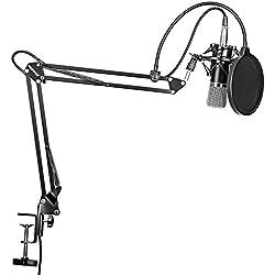 Neewer® nw-700Professional Studio Micrófono de condensador de grabación de radiodifusión y nw-35ajustable micrófono de grabación de suspensión tijera brazo soporte con montaje de choque y Kit de abrazadera de montaje