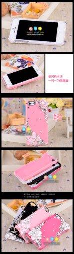 Puce Cristal Diamant Bling Cover Housse Coque Etui Case Pour Apple iPhone 5 5S Camélia (Rose)