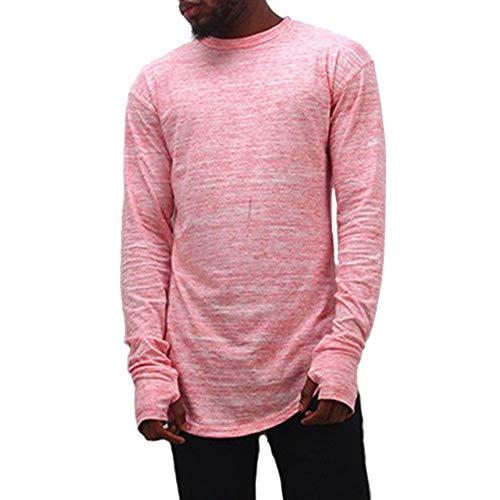IMJONO Männer Bluse Einfarbig Top Aushöhlen Manschette O-Neck Shirt Top Bluse (EU-52/CN-2XL,Rosa)