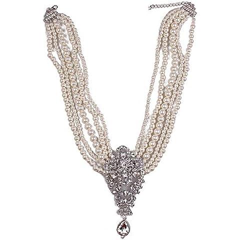 TWOPAGES, stile Vintage - Collana da donna, 5 file, perle sintetiche e spilla, da sposa