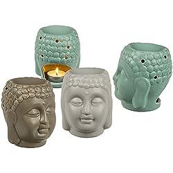 Lámpara aromática cerámica Buda 14x 12cm–(enviar color aleatorio, gris, verde o gris–se vende a la unidad)