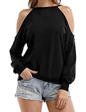 Lannister Fashion Donna Maglietta Tops Manica Lunga Rotondo Collo Senza Spalline Elegante Magliette Di Base Ragazze...