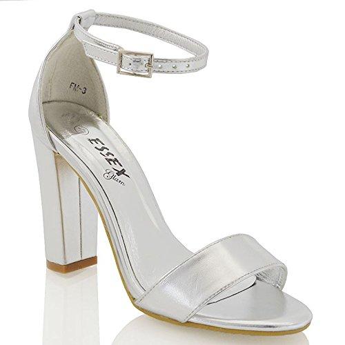 Hochblockabsatz Knöchelriemen Silber Riemchen Metallisch Glam Schuhe Sandalen Essex Zehenfrei Damen qwaAExOH