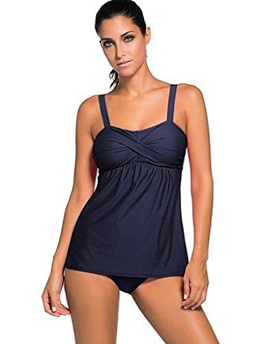 AHOOME Damen Bademode Bikini Plus Size Tankini Two-Piece(blue 3XL) (Tankini Classic)