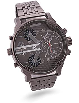 Yaki Herren Military Chronograph Uhren Multi-funktions Mode Quarz Armbanduhr Quarz - Uhr Edelstahl Metall-band...
