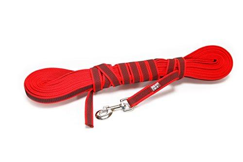 Julius-K9, 216GM-R-15 Color & Gray Gumierte Leine Rot-Grau 20mm*15 m ohne Schlaufe, max. für 50 kg Hunde, Rot-grau