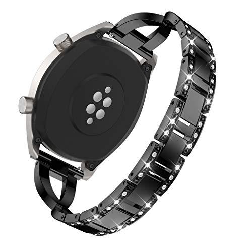 WAOTIER für Huawei Watch GT Armband Edelstahl Kristaller Armband mit Diamant Deko Armband und Metall Verschluss für Huawei Watch GT Classic Eleganter Armband für Frauen Glitzer Armband (Schwarz)