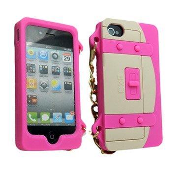 Handtasche Fall für Apple iPhone 4, 4S–Hot Pink & Creme ()