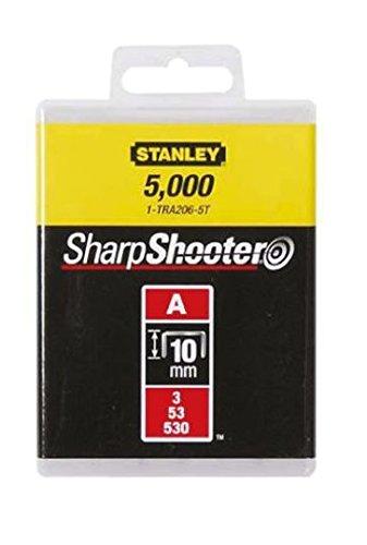 Stanley Klammern Typ A (10 mm, Klammern aus Runddraht für Elektro- und Handtacker Typ A) 5000 Stück, 1-TRA206-5T