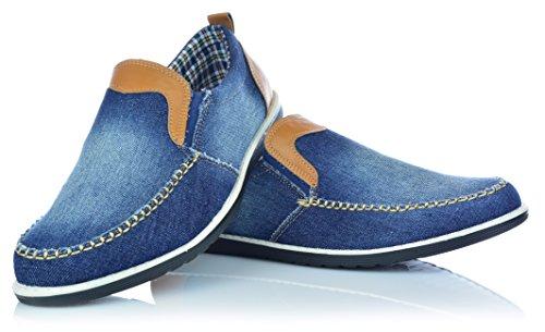 Herren Business Schuhe Halbschuhe Slipper Jeansoptik Mokassins Gr. 41-46 Blau