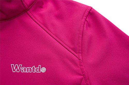 Wantdo Femme Veste Coupe-Vent d'Extérieur Col-Montant Sport Blouson Soft Shell Rose