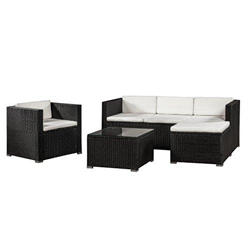 ArtLife Polyrattan Lounge Punta Cana L schwarz mit Bezügen in Creme | Gartenlounge mit Sofa, Sessel & Tisch für 4 - 5 Personen | Sitzgruppe (Sofas Und Sofas Mit Sessel)
