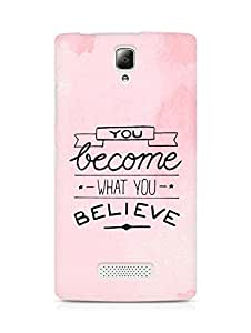 AMEZ you become what you believe Back Cover For Lenovo A2010