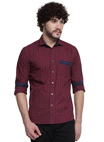D'INDIAN CLUB Men's Maroon Checkered Brushed Cotton Casual Shirt