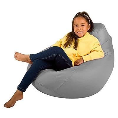 Bean Bag Bazaar Kids Gaming Chair - Large, 80cm x 70cm - Childrens Indoor Outdoor BeanBag (Grey, 2)