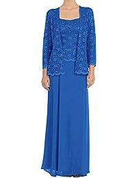 HWAN madre de los vestidos largos formales de la gasa vestido de novia con encaje chaquetas
