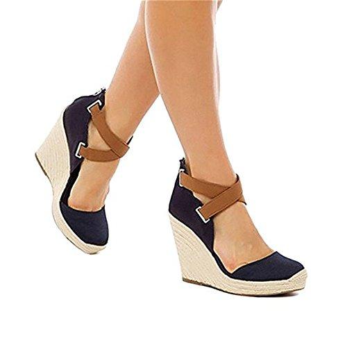 Shelers Damen Keile Schuhe Espadrilles Absätze Knöchel Gurt Fallen Sommer Sandalen (37 EU, - Wedges Sandalen Schuhe Frauen