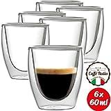 Caffé Italia Torino Tazzine Caffe Vetro Doppia Parete 6 x 60 ml - Tazzine per Espresso Bevande Calde e Fredde - Lavabile in Lavastoviglie